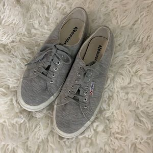Superga Gray Cotton Lace Up Sneakers Size 40/USW9
